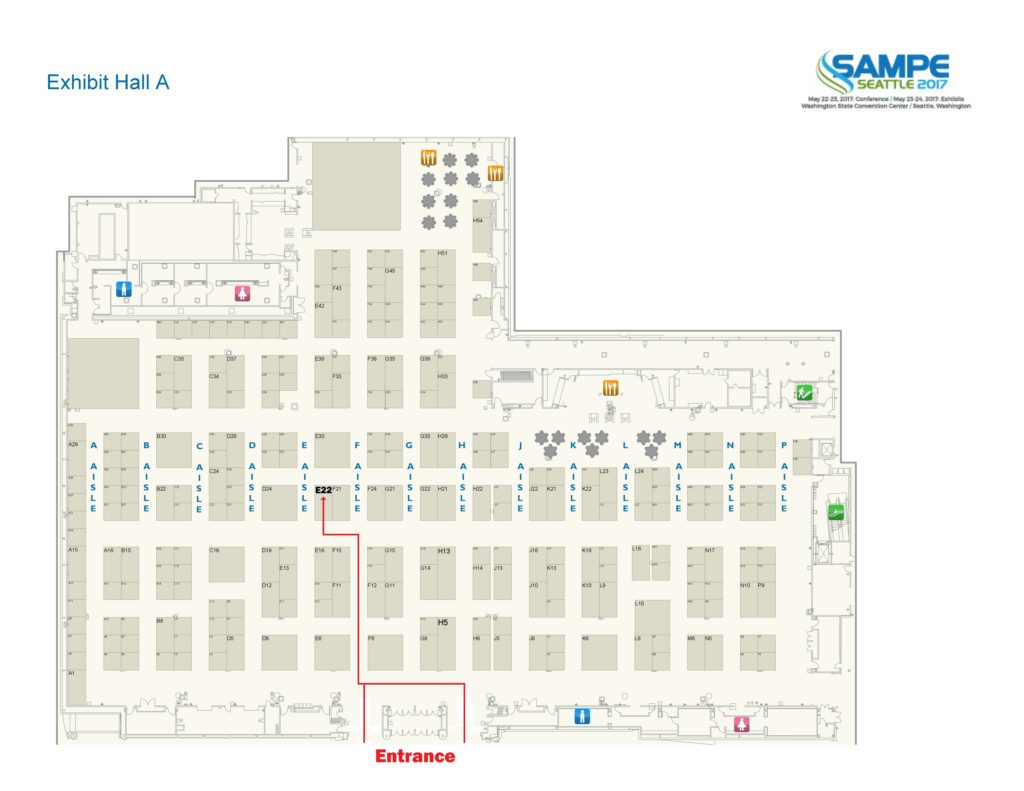 Image showing the location to the MCCFC booth at SAMPE 2017